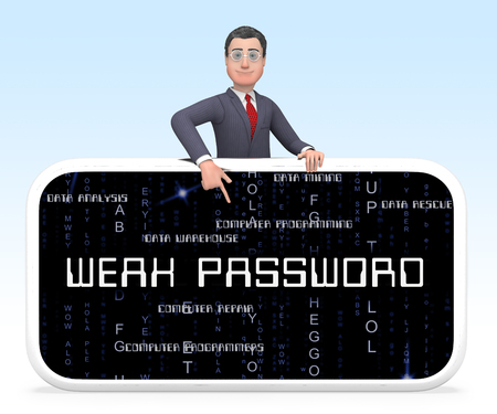 Weak Password Smartphone Shows Online Vulnerability And Internet Threat. Risk Of Cybersecurity Breach - 3d Illustration