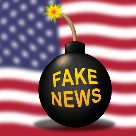Fake News Icon Bomb Means Misinformation Or Disinformation. Online Hoax Or Misleading Information  - 3d Illustration