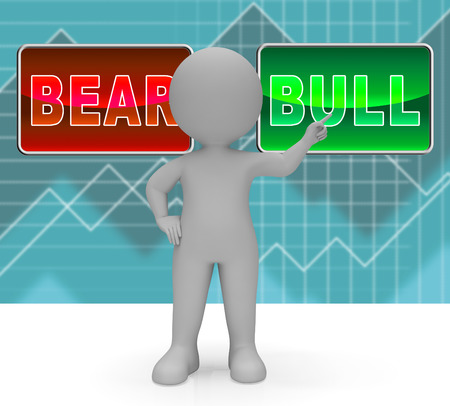 Bull Vs Bear Market Signs Means Profit Or Loss Investment Trading. Forex Shares Or Bond Markets 3d Illustration