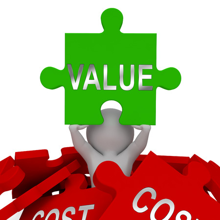 Cost Vs Value Jigsaw Denotes Return On Investment Roi. Spending And Expenses Versus Net Profit - 3d Illustration Banco de Imagens