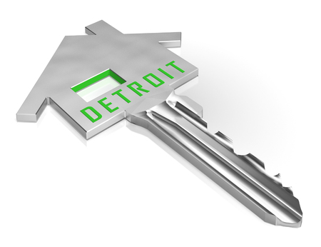 Detroit Real Estate Key Depicts Residential Buying In Michigan. Investment Property Or Owner Homes Mortgages - 3d Illustration