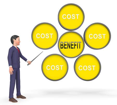 Cost Vs Benefit Businessman Means Comparing Price Against Value. Return On Investment Or Balancing Gain - 3d Illustration