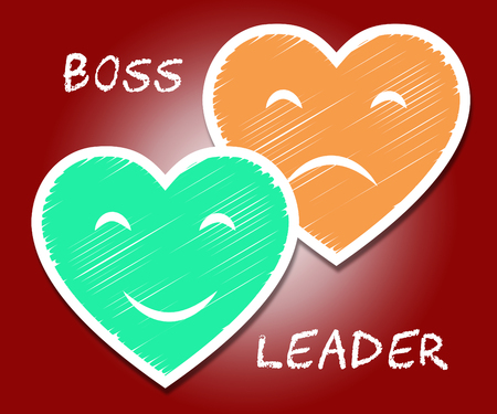 Boss Vs Leader Hearts Mean Leading A Team Better Than Managing. Encouraging Confident Strategy And Strong Concepts 3d Illustration