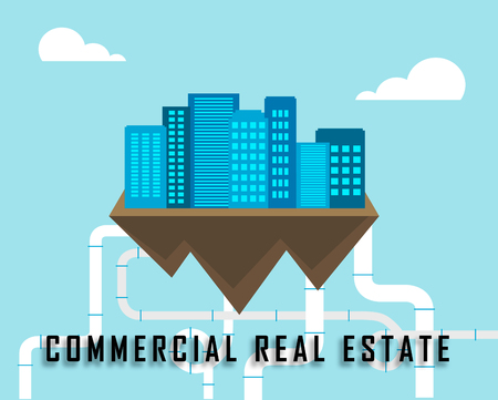 Commercial Real Estate City Represents Property Leasing Or Realestate Investment. Includes Offices And Land Leasing - 3d Illustration