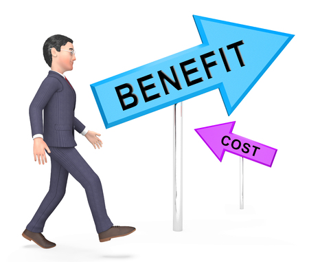 Cost Vs Benefit Signs Mean Comparing Price Against Value. Return On Investment Or Balancing Gain - 3d Illustration Stock Photo