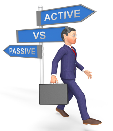Active Vs Passive Signpost Shows Positive Energy Attitude Or Negative Laziness 3d Illustration