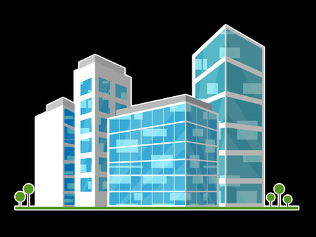 Commercial Real Estate City Block Represents Property Leasing Or Realestate Investment. Includes Offices And Land Leasing - 3d Illustration Banco de Imagens