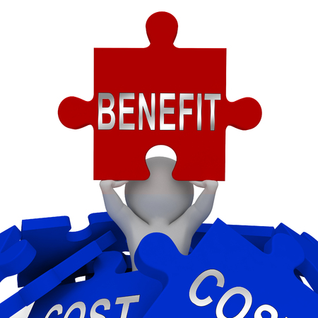 Cost Vs Benefit Jigsaw Means Comparing Price Against Value. Return On Investment Or Balancing Gain - 3d Illustration