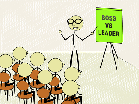 Boss Vs Leader Teacher Means Leading A Team Better Than Managing. Encouraging Confident Strategy And Strong Concepts 3d Illustration Stock Photo