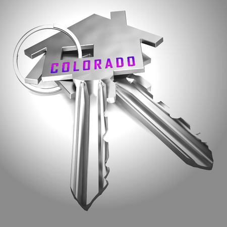 Colorado Real Estate Keys Represent Buying Property In Denver United States. Ownership Renting Or Investment Purchase - 3d Illustration