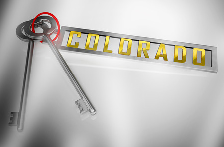 Colorado Property Keys Represents Real Estate Or Purchasing Investment. United States Realty Developments - 3d Illustration Stock Illustration - 119298617