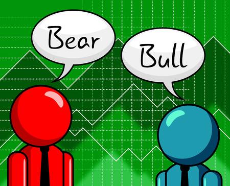 Bull Vs Bear Market Men Means Profit Or Loss Investment Trading. Forex Shares Or Bond Markets 3d Illustration