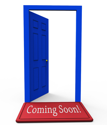 Coming Soon Doorway Shows Upcoming Real Estate Property Available. Realty Ownership Project Upcoming - 3d Illustration