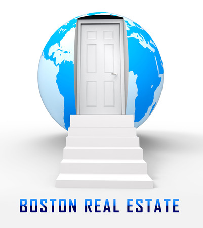 Boston Real Estate Globe Represents Property In Massachusetts. Houses And Apartments In The United States 3d Illustration
