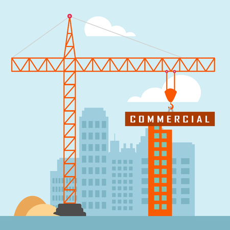 Commercial Real Estate Construction Represents Property Leasing Or Realestate Investment. Includes Offices And Land Leasing - 3d Illustration Stock Photo