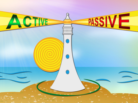 Active Vs Passive Lighthouse Shows Positive Energy Attitude Or Negative Laziness 3d Illustration Stock Photo