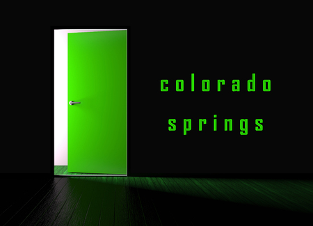 Colorado Springs Property Doorway Represents Real Estate Or Purchasing Investment. United States Realty Developments - 3d Illustration Banco de Imagens