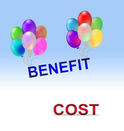 Benefit Versus Cost Word Means Value Gained Over Money Spent. Calculation Is Earnings Vs Expense - 3d Illustration