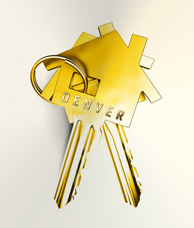 Denver Real Estate Keys Illustrates Colorado Property And Investment Housing. Realty Purchasing And Selling - 3d Illustration Stock Photo