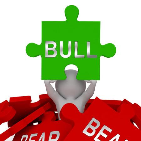 Bull Vs Bear Market Jigsaw Means Profit Or Loss Investment Trading. Forex Shares Or Bond Markets 3d Illustration Stock Photo