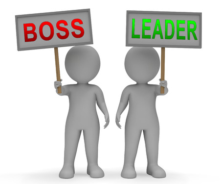 Boss Vs Leader Signs Mean Leading A Team Better Than Managing. Encouraging Confident Strategy And Strong Concepts 3d Illustration 스톡 콘텐츠
