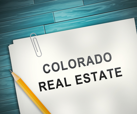 Colorado Property Contract Represents Real Estate Or Purchasing Investment. United States Realty Developments - 3d Illustration