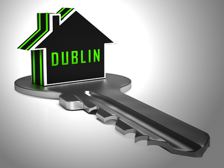 Dublin Apartments Key Depicts Irish Condo Real Estate Buying. Property Available In Eire Location - 3d Illustration Stock Photo