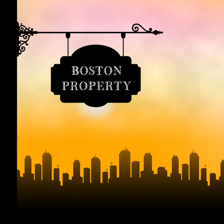 Boston Property Sign Shows Real Estate In Massachusetts Usa. Housing Purchase Or Realty Rental 3d Illustration 写真素材