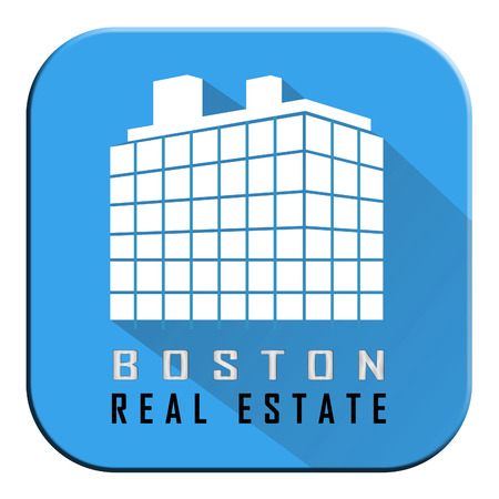 Boston Real Estate Apartment Represents Property In Massachusetts. Houses And Apartments In The United States 3d Illustration