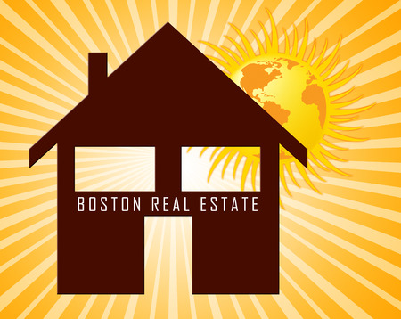 Boston Real Estate Icon Represents Property In Massachusetts. Houses And Apartments In The United States 3d Illustration