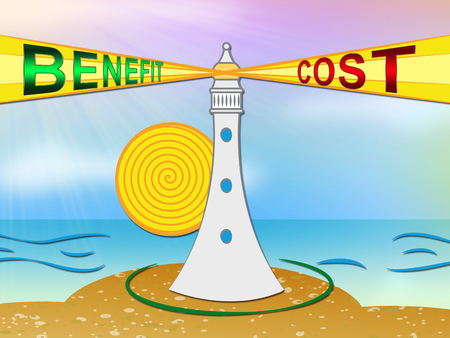 Cost Vs Benefit Lighthouse Means Comparing Price Against Value. Return On Investment Or Balancing Gain - 3d Illustration