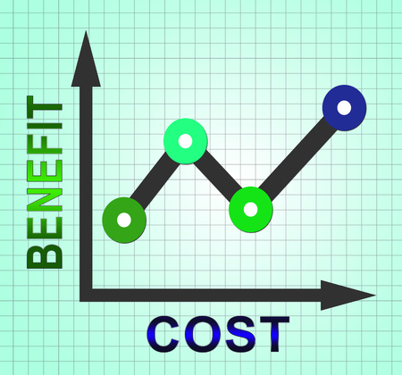 Cost Vs Benefit Graph Means Comparing Price Against Value. Return On Investment Or Balancing Gain - 3d Illustration