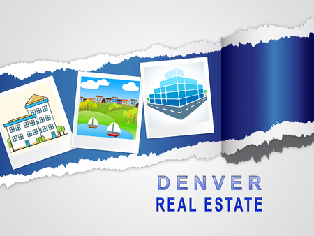 Denver Real Estate Images Illustrates Colorado Property And Investment Housing. Realty Purchasing And Selling - 3d Illustration