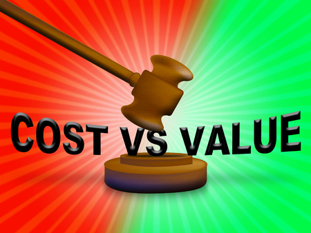 Cost Vs Value Gavel Denotes Return On Investment Roi. Spending And Expenses Versus Net Profit - 3d Illustration