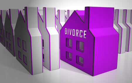 Divorce House Split Icons Depicts Legal Sharing Of Property After Divorcing. Justice Or Lawsuit Settlement Shows How To Beak Up Assets - 3d Illustration Stock Photo
