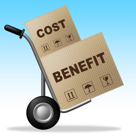 Benefit Versus Cost Product Means Value Gained Over Money Spent. Calculation Is Earnings Vs Expense - 3d Illustration Stock Photo