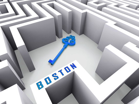 Boston Real Estate Key Represents Property In Massachusetts. Houses And Apartments In The United States 3d Illustration Banco de Imagens
