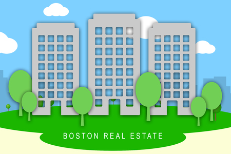 Boston Property Apartments Show Real Estate In Massachusetts Usa. Housing Purchase Or Realty Rental 3d Illustration