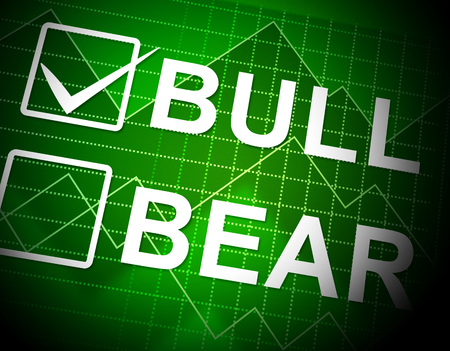 Bull Vs Bear Market Graph Means Profit Or Loss Investment Trading. Forex Shares Or Bond Markets 3d Illustration