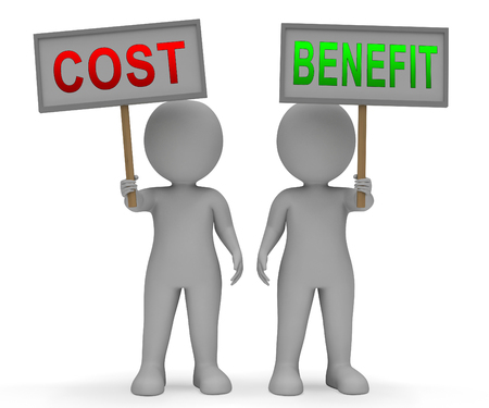 Cost Vs Benefit Sign Means Comparing Price Against Value. Return On Investment Or Balancing Gain - 3d Illustration
