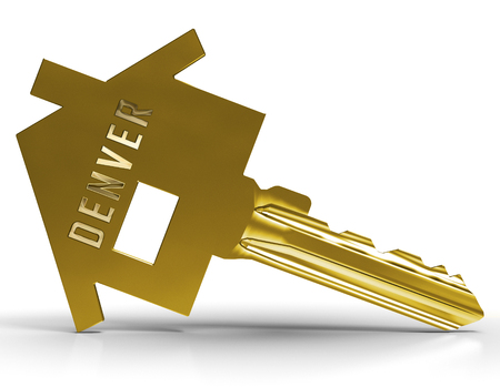 Denver Real Estate Key Illustrates Colorado Property And Investment Housing. Realty Purchasing And Selling - 3d Illustration Stock Photo