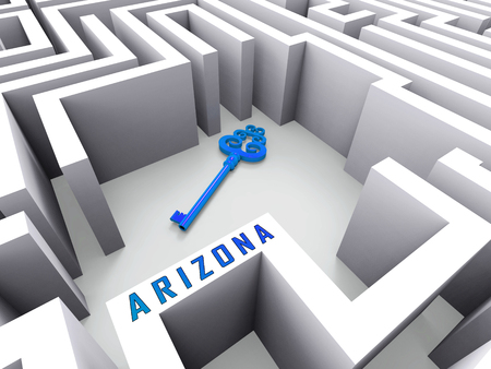 Arizona Real Estate Key Represents Purchasing Or Buying Through A Broker In Az Usa 3d Illustration Reklamní fotografie