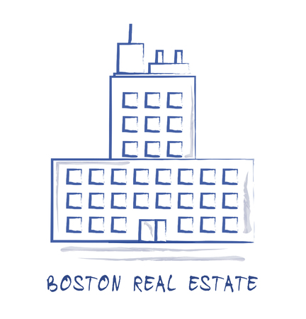 Boston Property Icon Shows Real Estate In Massachusetts Usa. Housing Purchase Or Realty Rental 3d Illustration