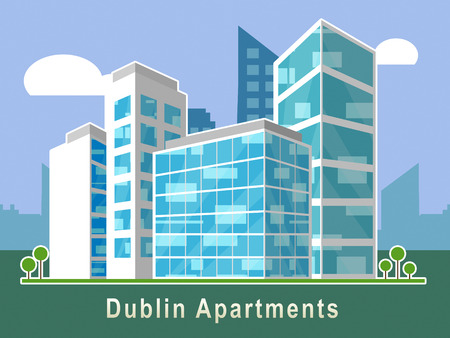 Dublin Apartments Symbol Depicts Irish Condo Real Estate Buying. Property Available In Eire Location - 3d Illustration