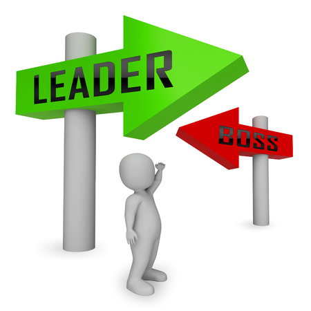 Boss Vs Leader Signs Mean Leading A Team Better Than Managing. Encouraging Confident Strategy And Strong Concepts 3d Illustration Stock Photo