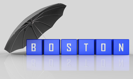 Boston Real Estate Word Represents Property In Massachusetts. Houses And Apartments In The United States 3d Illustration 写真素材