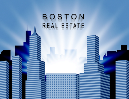 Boston Property City Shows Real Estate In Massachusetts Usa. Housing Purchase Or Realty Rental 3d Illustration 写真素材