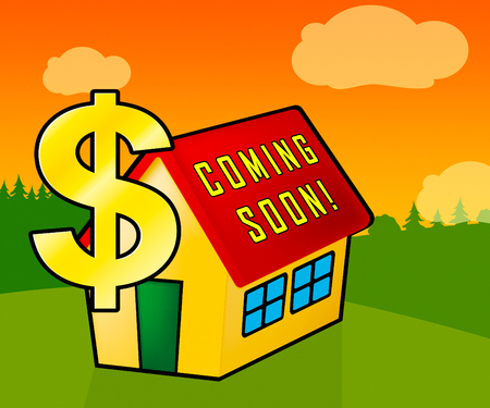 Coming Soon House Shows Upcoming Real Estate Property Available. Realty Ownership Project Upcoming - 3d Illustration
