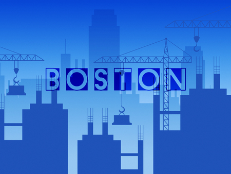 Boston Property Construction Shows Real Estate In Massachusetts Usa. Housing Purchase Or Realty Rental 3d Illustration