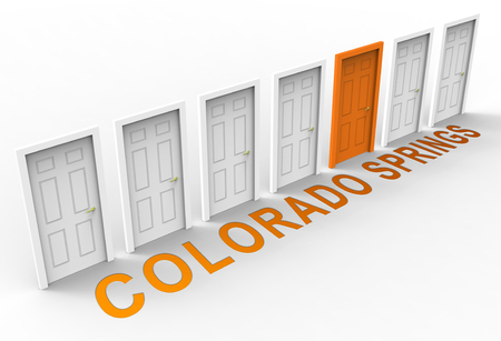 Colorado Springs Property Doorways Represent Real Estate Or Purchasing Investment. United States Realty Developments - 3d Illustration Stock Photo